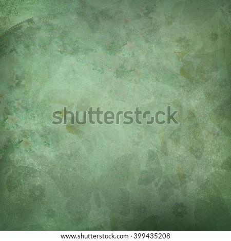green butterflies flowers pattern - stock photo