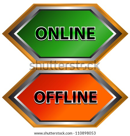 Green button on-line and red button offline
