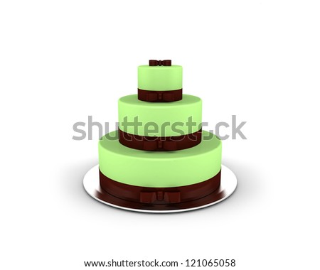 Green cake on three floors with chocolate ribbons and bows on it isolated on white background - stock photo