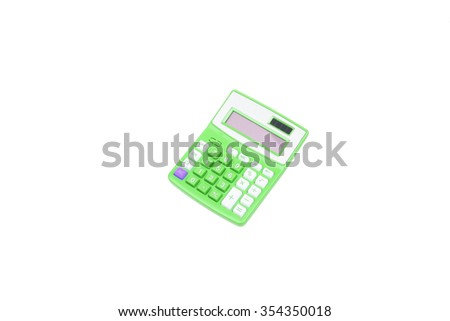 green calculator on a white background - stock photo