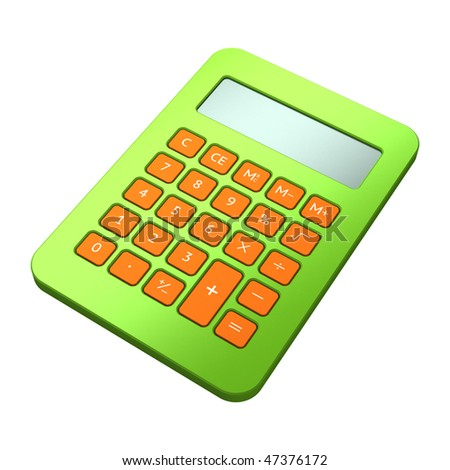 Green calculator on white background