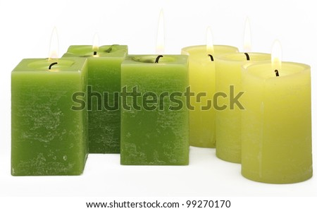 green candles - stock photo