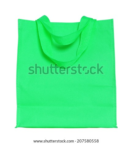 green canvas shopping bag isolated on white background with clipping path