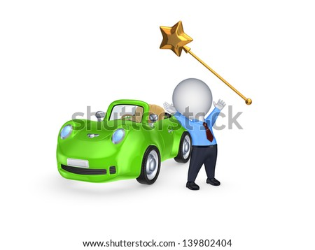Green car and magic wand.Isolated on white.3d rendered.