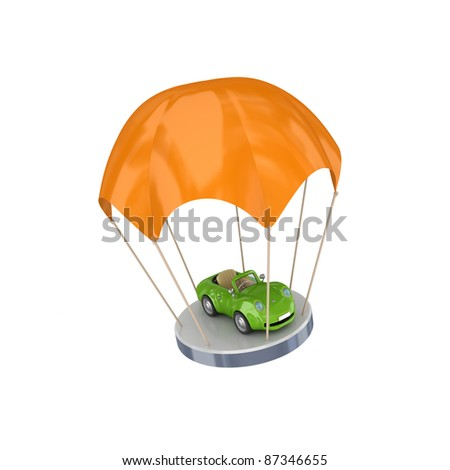 Green car at orange parachute.Isolated on white background.3d rendered.