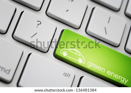 Green car button for ecology concept - stock photo