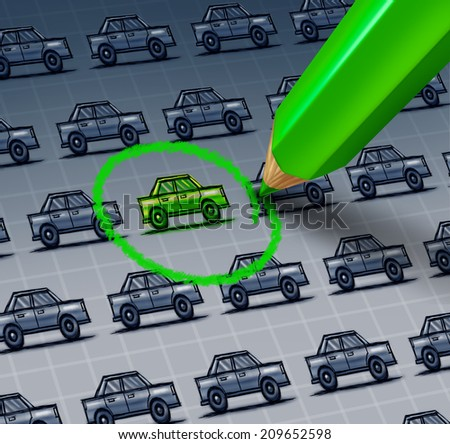 Green car choice concept as a drawing of a group of automobiles with a green pencil drawing a circle around an ecological vehicle. - stock photo