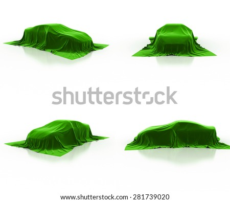 green car covered cloth - stock photo