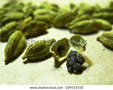 Green Cardamom Seeds - stock photo