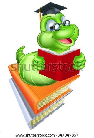 Green cartoon caterpillar worm bookworm wearing glasses and mortar board hat reading a book