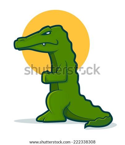 Green cartoon gator standing up - stock photo