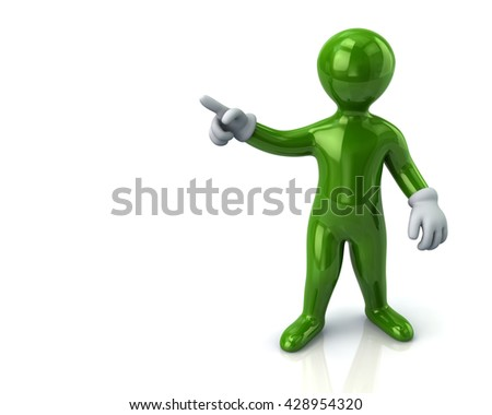 Green cartoon man  pointing with his index finger on white background