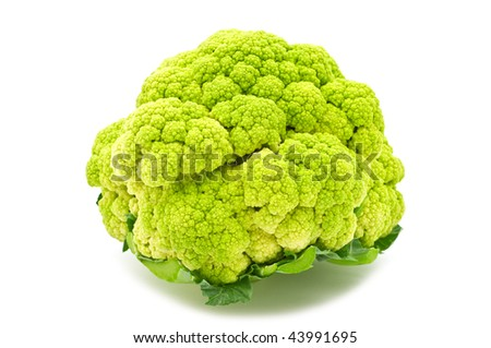 green cauliflower on white background
