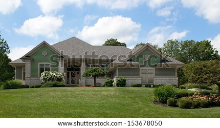 Green Cedar Shake House - stock photo