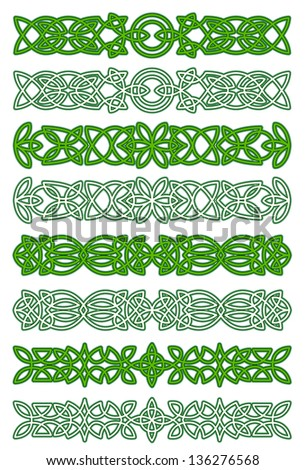 Green celtic ornament elements for embellishments and design. Vector version also available in gallery - stock photo