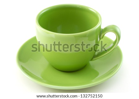 green ceramic cup - stock photo