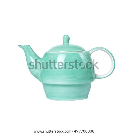 Green Ceramic Teapot isolated on white with a clipping path.