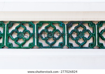 Green Ceramics Wall Tile Decorate Chinese Style Background - stock photo
