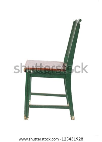 Green chair in a side view image - stock photo