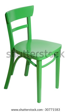 green chair on a white background