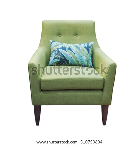 Green chair with pillow isolated on white background with clipping path