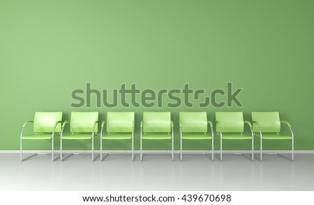 Green chairs in the green waiting room 3D render