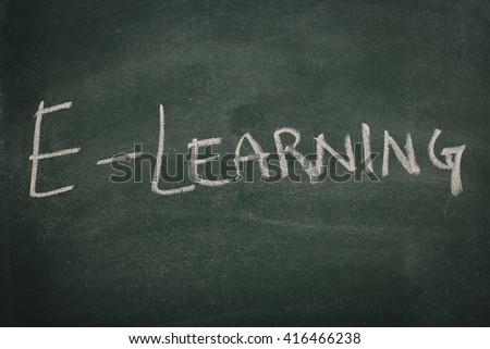 Green Chalkboard e learning - stock photo