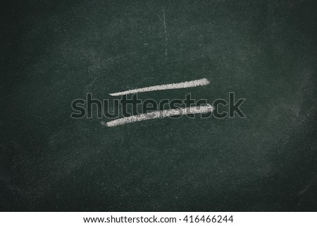 Green Chalkboard equal sign - stock photo