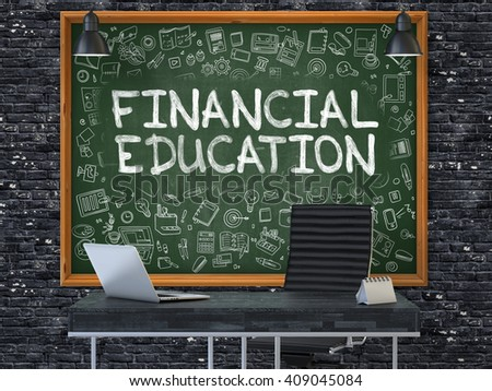 Green Chalkboard on the Dark Brick Wall in the Interior of a Modern Office with Hand Drawn Financial Education. Business Concept with Doodle Style Elements. 3D. - stock photo