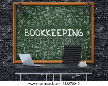 Green Chalkboard on the Dark Brick Wall in the Interior of a Modern Office with Hand Drawn Bookkeeping. Business Concept with Doodle Style Elements. 3D. - stock photo