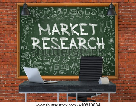 Green Chalkboard on the Red Brick Wall in the Interior of a Modern Office with Hand Drawn Market Research. Business Concept with Doodle Style Elements. 3D. - stock photo