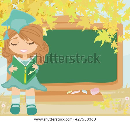 green chalkboard with autumn leaves and schoolgirl with book - stock photo