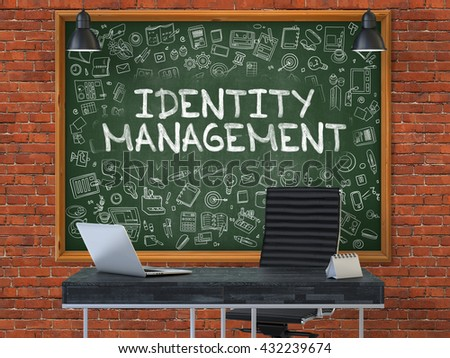 Green Chalkboard with the Text Identity Management Hangs on the Red Brick Wall in the Interior of a Modern Office. Illustration with Doodle Style Elements. 3D. - stock photo
