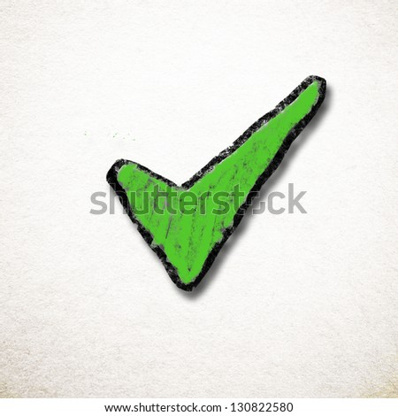 Green check mark - stock photo