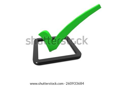 Green Check Mark Icon - stock photo