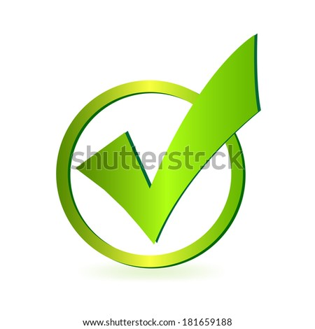 Green check mark illustration. Vector file available. - stock photo