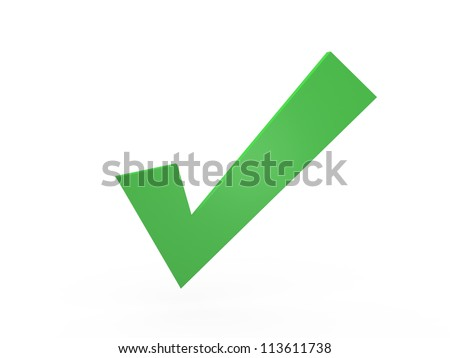 Green check mark, isolated on white background. - stock photo