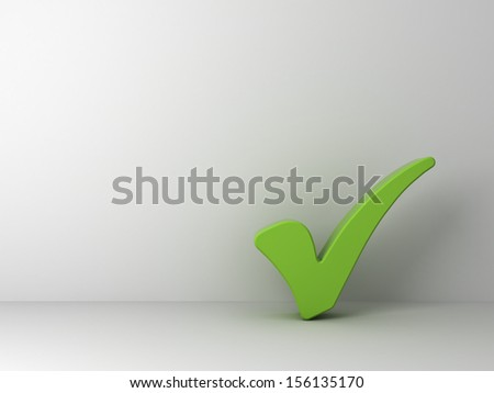 Green check mark on empty white wall background - stock photo