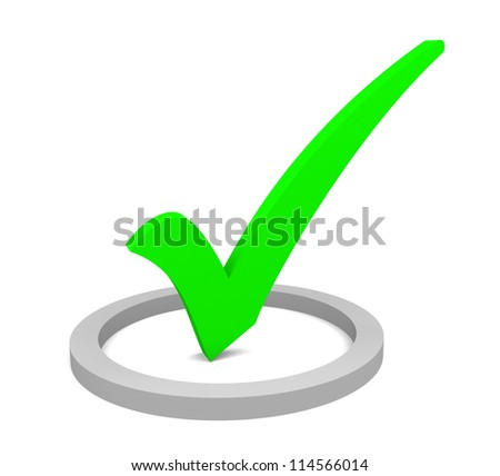 Green check mark on white background