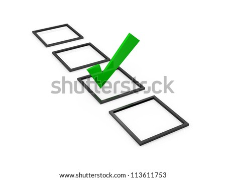 Green check mark sign on list option, isolated on white background.