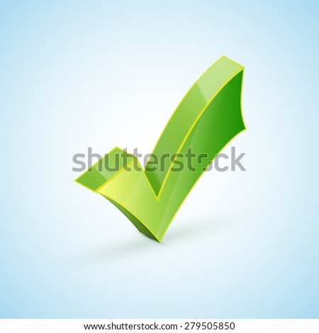 Green check mark symbol and icon for approved design concept and web graphic on white background. - stock photo