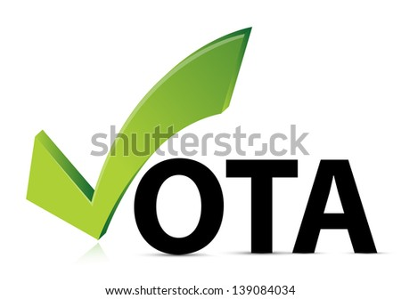 green check mark vote in spanish on isolated background