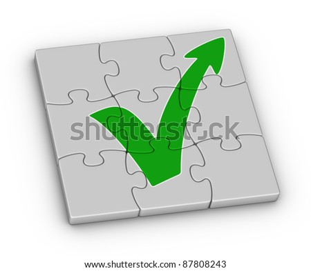 Green check mark with arrow on jigsaw puzzle - stock photo