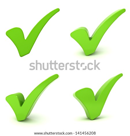 Green check marks isolated over white background - stock photo