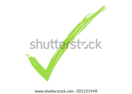 green check sign illustration on white background.