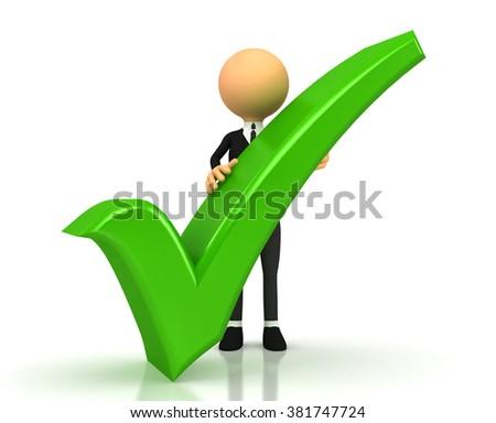 green checkmark on white background - stock photo