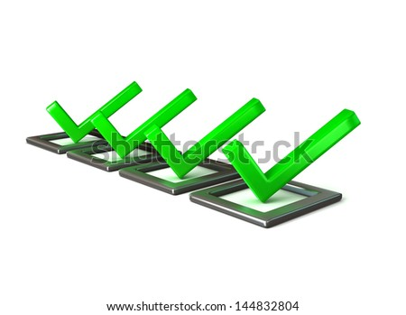 Green checkmarks in checklist - stock photo
