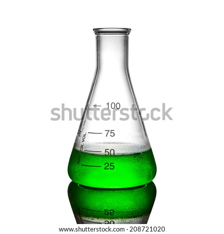 green chemical liquid in flask