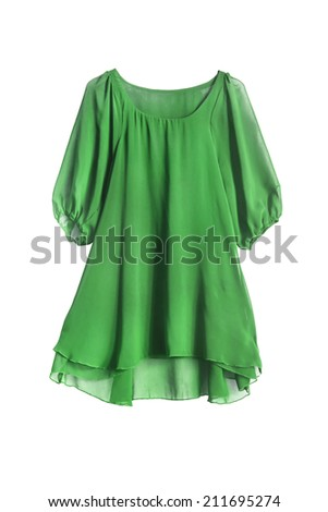 Green chiffon delicate dress on white background - stock photo