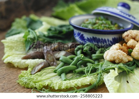 green chili dip with cooked vegetable and pork snack, thai style green chilli dip with cooked vegetable and pork snack,